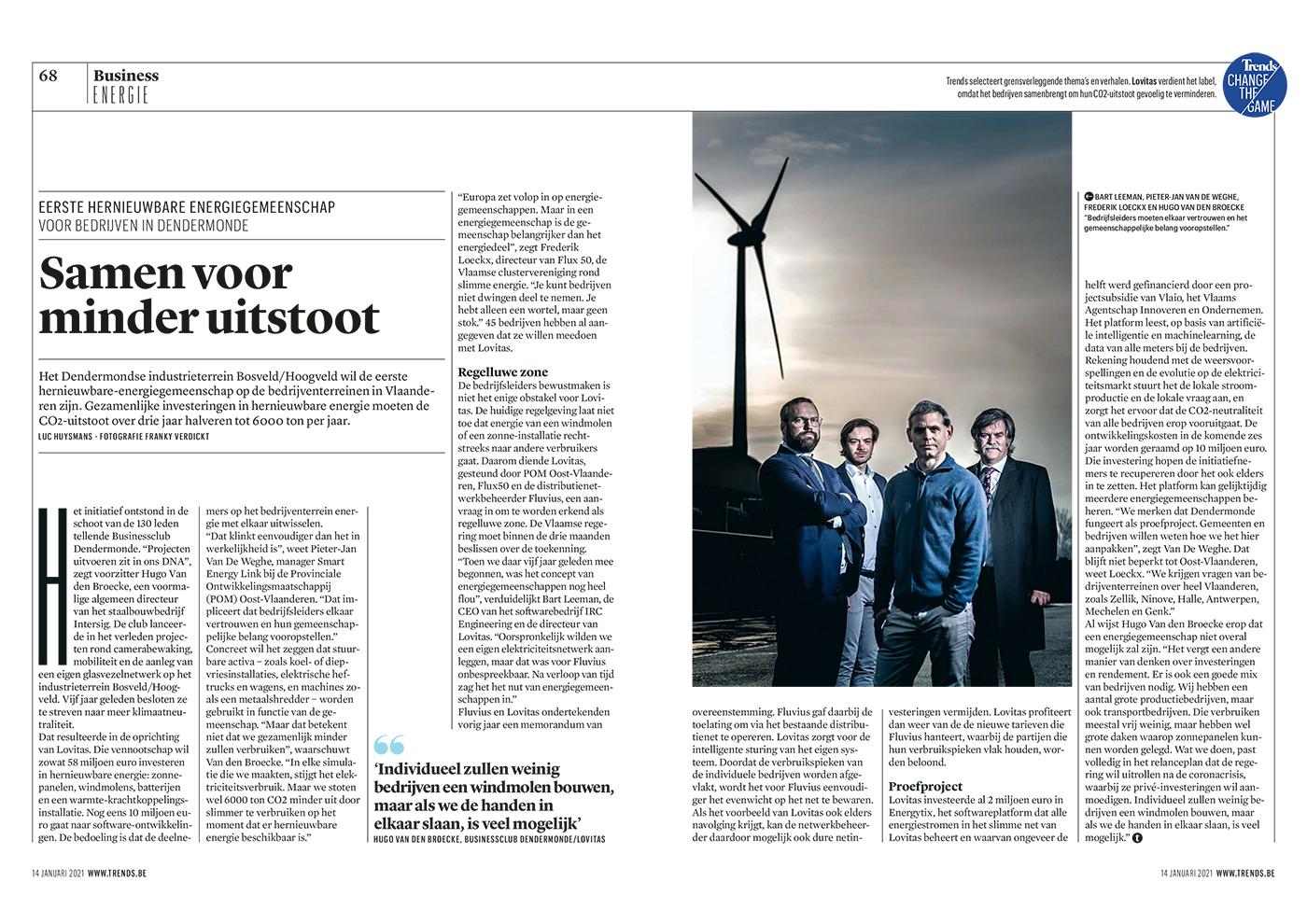 Eerste hernieuwbare energiegemeenschap voor bedrijven in Dendermonde